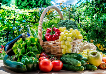 In de dag Keuken Variety of fresh organic vegetables and fruits in the garden