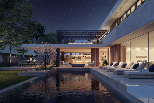 Modern house exterior design at night with swimming pool 3D Rendering