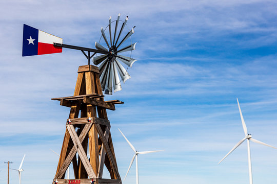 A wind turbine with a Texas flag