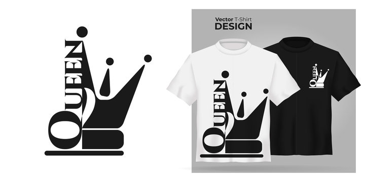 Vector female t-shirt mock up set with flat icon queen with  princess crown silhouette. 3d realistic shirt template. Black and white girl tee mockup, front view design, woman royal pattern