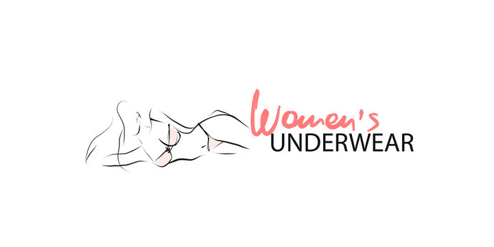 Slim young woman in lingerie. Silhouette of female body, hand-drawn illustration. Vector