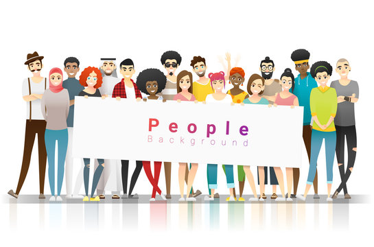 Diversity concept background , group of happy multi ethnic people standing together and holding empty banner , vector , illustration