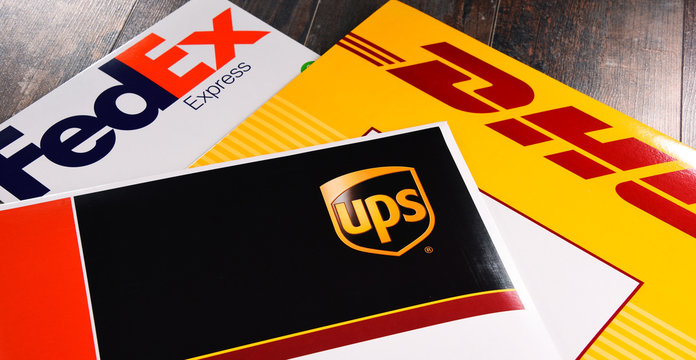 Envelopes of 3 most popular courier services in the world