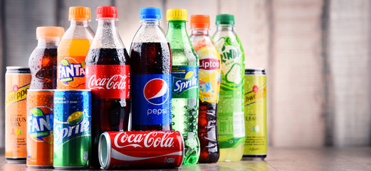Bottles of assorted global soft drinks