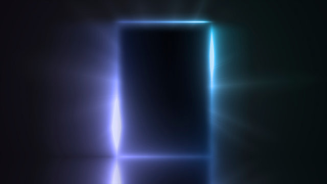 Light from the door of a dark room, abstract mystical glowing exit, discovery, background, open door template, mock up. Empty dark interior room almost close wayout