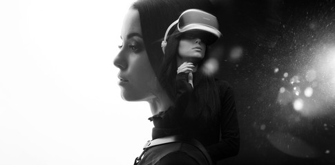 Wall Mural - Double exposure of female face. Abstract black and white woman portrait. Digital art. Augmented reality, game, future technology concept. VR. White background. Free space for text.