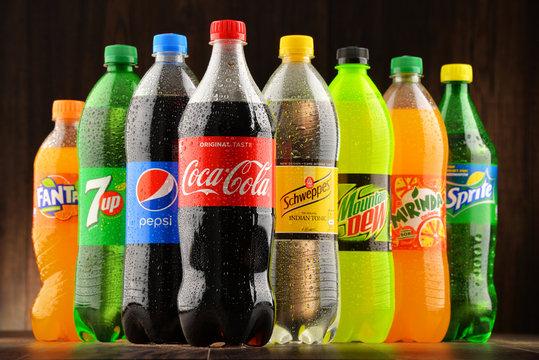 Bottles of assorted global soft drinks