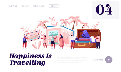 Memory, Photography, Trip Website Landing Page, Young People After Vacation Watching Photo Album, Take Out Clothes and Souvenirs from Suitcase, Web Page. Cartoon Flat Vector Illustration, Banner Wall mural