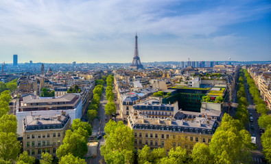 A view of the Eiffel Tower and Paris, France from the Arc de Triomphe. Wall mural