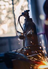 Welding equipment in the car mechanic shop