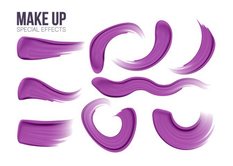 Make up set. brush stroke.strokes of lipsticks various colors isolated on white. Elements for your design of advertising posters, leaflets for the promotion of decorative cosmetics