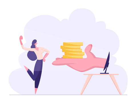 Happy Confident Business Woman Demonstrate Muscles Receive Money from Hand at Computer Monitor. Internet Earning, Investment, Income, Businesswoman Make Money Online. Cartoon Flat Vector Illustration