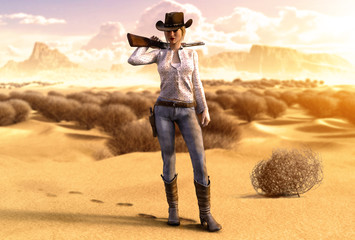 Beautiful Cowgirl with a Rifle in a barren Desert