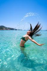 Ibiza Cala Tarida beach in Balearic Islands