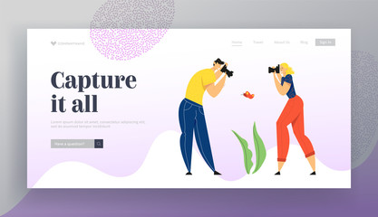 Man and Woman Photographers with Photo Camera Making Picture of Butterfly. Creative Hobby, Traveling Characters Rest on Nature, Website Landing Page, Web Page. Cartoon Flat Vector Illustration, Banner