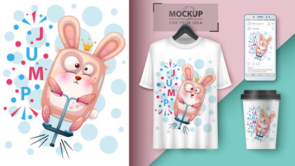 Sport rabbit -mockup for your idea