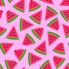 Watermelon seamless pattern on pink background. Vector image