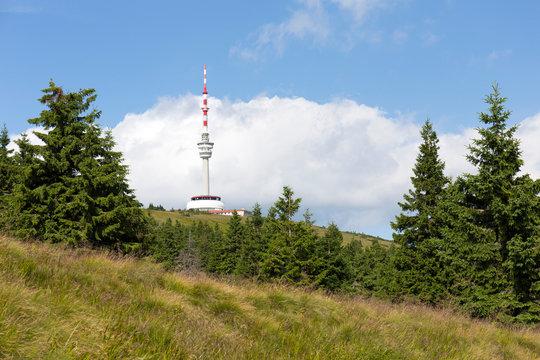 Highest Peak of Moravia, Praded 1492 m with Watchtover in Jesenik, Czech Republic