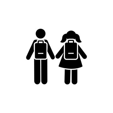 Man girl students classmates pictogram icon