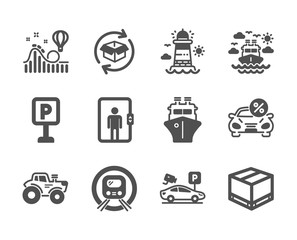 Set of Transportation icons, such as Return parcel, Ship, Car leasing, Roller coaster, Parking, Tractor, Elevator, Delivery box, Metro subway, Ship travel, Parking security, Lighthouse. Vector