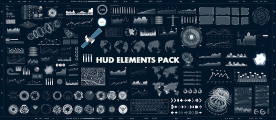HUD design elements set for UI UX GUI projects. Data and statistic, infochart, infographic, chart and graphics.Futuristic Sci-fi User Interface for App (business, medicine, forex, finance, analytics) Wall mural