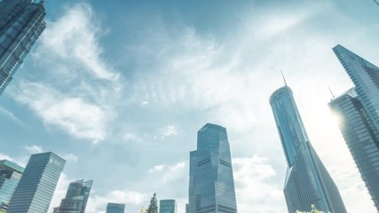 Fotomurales - hyper lapse, skyscrapes, park in lujiazui financial center, Shanghai, China