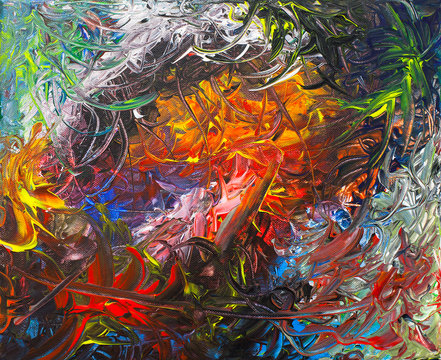 Colorful and Dense Abstract Acrylic Painting