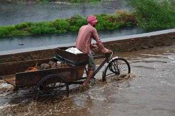 インドの首都のデリー 洪水した道路を自転車で走るインド人男性