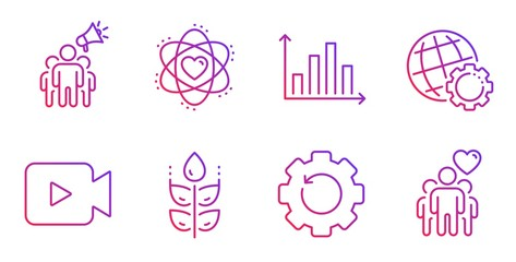 Globe, Video camera and Recovery gear line icons set. Diagram graph, Brand ambassador and Atom signs. Gluten free, Friendship symbols. Internet settings, Movie or cinema. Business set. Vector