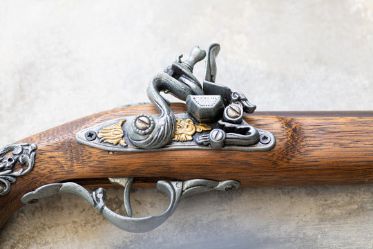 Close up view of a flintlock gun replica