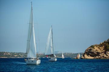 Fototapete - Sailing yacht boats Regatta at the Aegean Sea in Greece.
