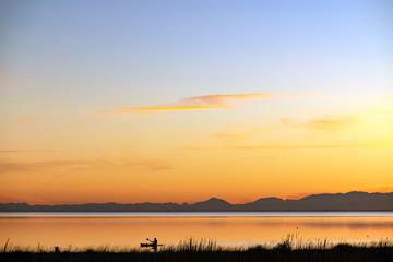 Spoed Fotobehang Pier Lake Ellesmere,South Island New Zealand