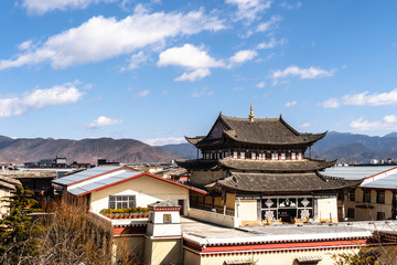 Tibetan Buddhism temple in the heart of Shangri-La old town in Northern Yunnan in China