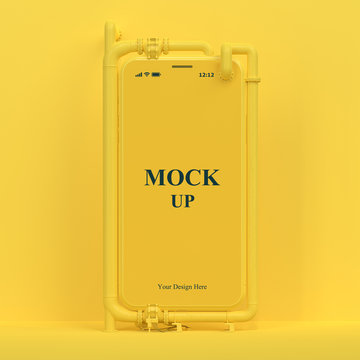 Yellow cell phone mock-up