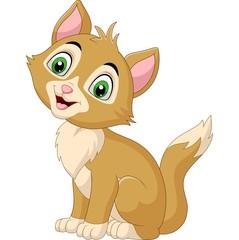 Smiling cat cartoon isolated on white background