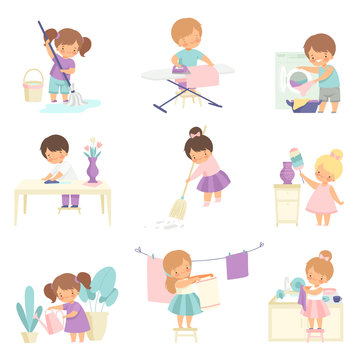 Cute Adorable Kids Doing Housework Chores at Home Set, Cute Little Boys and Girls Sweeping Floor, Ironing Clothes, Washing Dishes, Watering Houseplants Vector Illustration