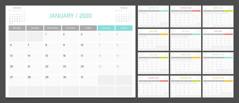 2020 calendar planner design template vector week start Monday.