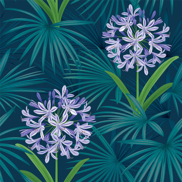 Seamless pattern of Agapanthus or African lily flowers with palm leaf background template. Vector set of blooming floral for holiday invitations, greeting card and fashion design.