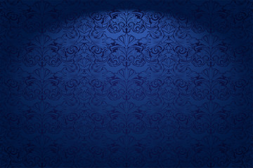 Royal, vintage, Gothic horizontal background in dark blue ultramarine with a classic Baroque pattern, Rococo.With dimming at the edges. Vector illustration EPS 10