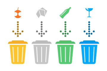 Illustration separate recycling. Vector on white background.