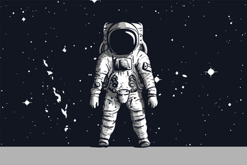 Astronaut on rock surface with space background. Vector image