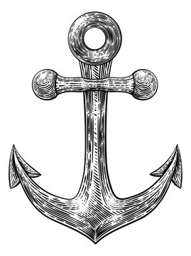 An anchor from a boat or ship tattoo or retro style woodcut etching drawing in a vintage style