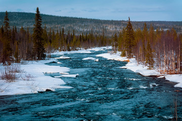 Foto op Aluminium Bos rivier Melting snow and flowing cold blue river in the snow next to the forest. Arrival of spring