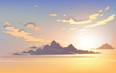 Wall Murals Beige Vector landscape sky clouds. Plane in the sky. cartoon anime style. Background design