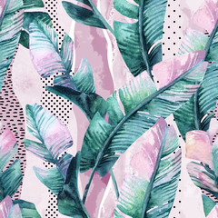 Foto op Canvas Aquarel Natuur Watercolor seamless pattern of banana tropical leaves on vertical striped background