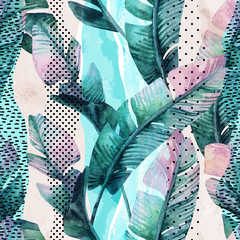 Photo sur Aluminium Aquarelle la Nature Watercolor seamless pattern of banana tropical leaves on vertical striped background