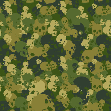 Skull camo seamless pattern. Camouflage in pink colors. Military vector background for your design.