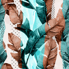 Aluminium Prints Watercolor Nature Watercolor seamless pattern of banana tropical leaves on vertical striped background