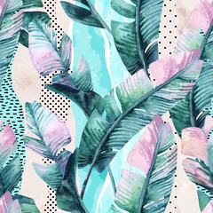 Fotobehang Aquarel Natuur Watercolor seamless pattern of banana tropical leaves on vertical striped background