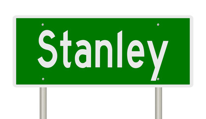 Rendering of a green highway sign for Stanley Idaho Fotomurales